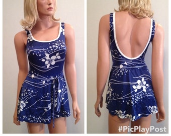 1970's Swimsuit Blue One Piece Swimsuit Bullet Bra Swimsuit 70's Swimsuit Skirted Swimsuit Patriotic Swimsuit Union Made In The USA Size M