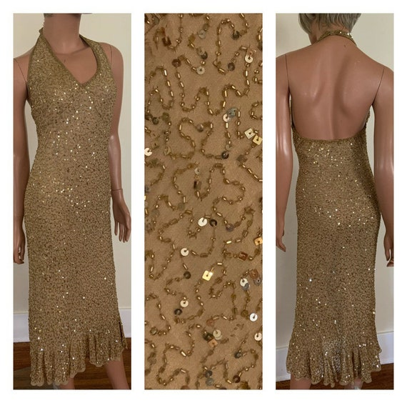 Gold Beaded Dress Gold Sequined Dress Gold Halter