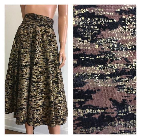 1950's Full Skirt Black Full Skirt Gold Full Skirt