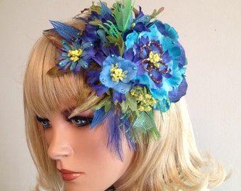 Topical Floral Headpiece Pin Up Headpiece Luau Headpiece Tropical Headpiece Floral Headpiece Hawaiian Headpiece Blue Floral Hair Comb