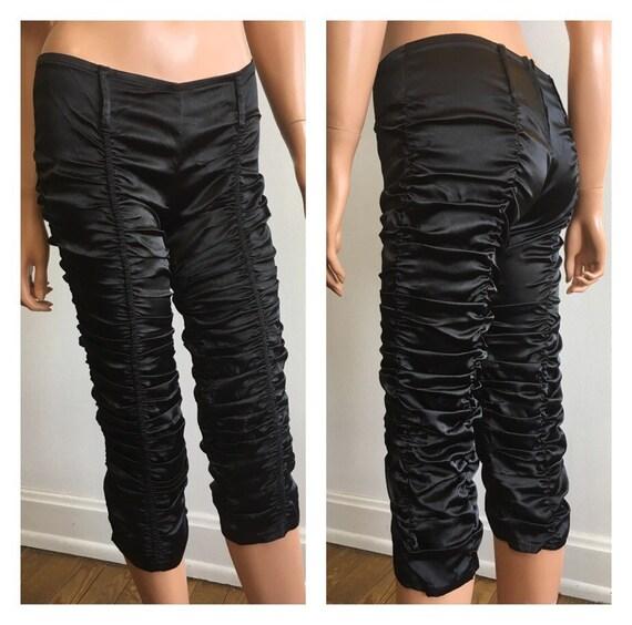 Gathered Pants Satin Pants Satin Hip Hugger Pants