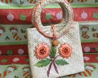 Vintage Handbag 1960's Straw Handbag 60's Beach Purse Raffia Handbag Coral Flowers Straw Handbag Orange Straw Purse