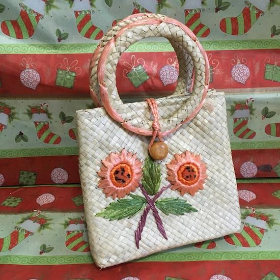 Vintage Handbag 1960's Straw Handbag 60's Beach Pu