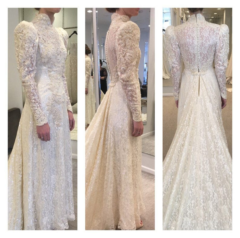 Victorian Wedding Dresses.Victorian Wedding Gown Victorian Wedding Dress Sequined Wedding Gown Ivory Sequined Wedding Gown Beaded Wedding Gown Extra Long Train Xs S