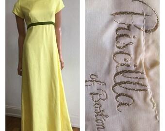 Vintage Yellow Formal Gown Pricilla Of Boston Bridesmaids Dress 1960's Bridesmaids Dress 60's Yellow Dress Yellow Wedding Dress Size S