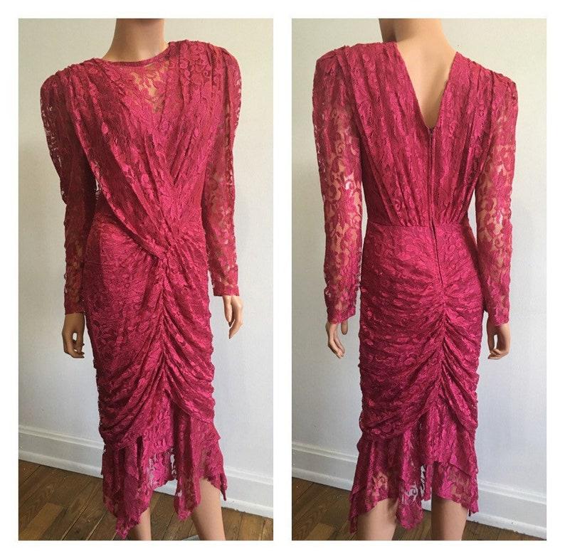da235349f189 1980s Dress Pink 80s Dress80s Draped Dress Pink Lace Dress