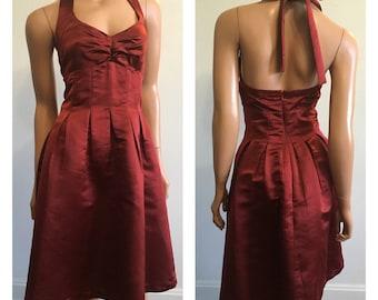 Holiday Dress 90s Halter Dress 90s Prom Dress Autumn Dress Rust Formal Dress Thanksgiving Dress Short Burgundy Dress Rust Dress Size 6
