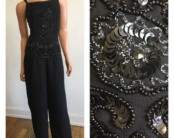 New Years Eve 1990's Beaded Jumpsuit Black Beaded Jumpsuit 90's Party Jumpsuit Sparkle Jumpsuit Formal Jumpsuit Trophy Jumpsuit Small
