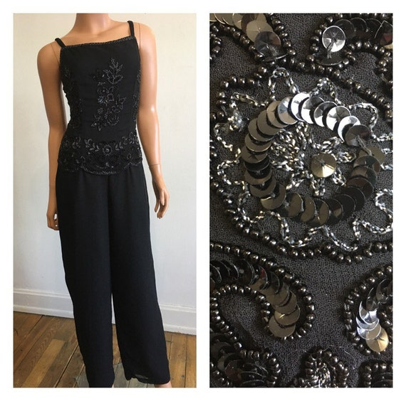 New Years Eve 1990's Beaded Jumpsuit Black Beaded