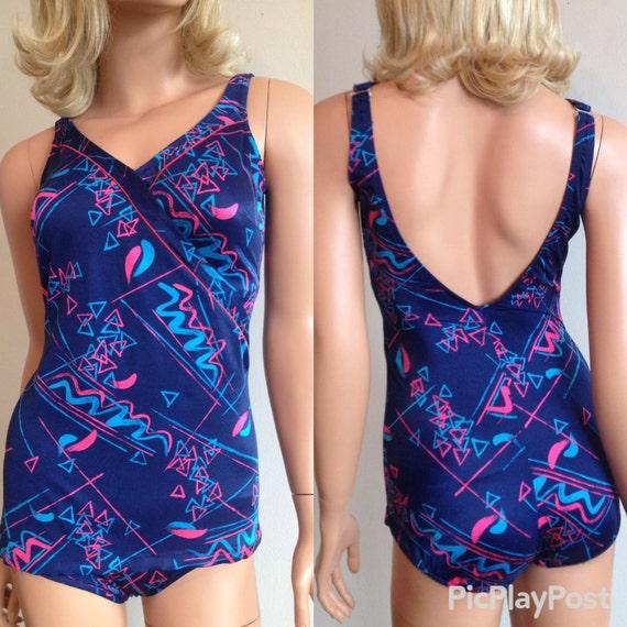 8597c852e9 1970 s Swimsuit Abstract Blue Swimsuit Bullet Bra Swimsuit