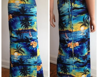 1990's Vintage Hawaiian Luau Costume Tropical Palm Tree Sunset  Wrap Sarong  Beach Cover-Up Size S