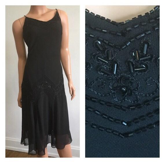 Black Beaded Flapper Dress Black Gatsby Dress Black Flapper Etsy
