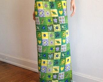 1970s Skirt Green Skirt Boho Skirt Wrap Skirt Hippie Skirt Flower Power Skirt Sarong Skirt Wrap Skirt Maxi Skirt Hippie Costume 70s Skirt