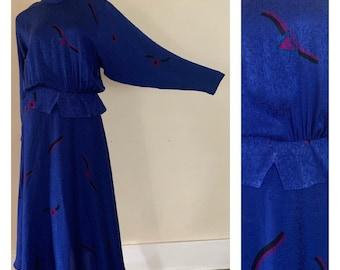 Royal Blue 1980s Dress 80s Day Dress Silk Dress 80s Silk Dress Secretary Dress Geometric 80s Dress Royal Blue 80s Dress  Dolman Sleeve 10