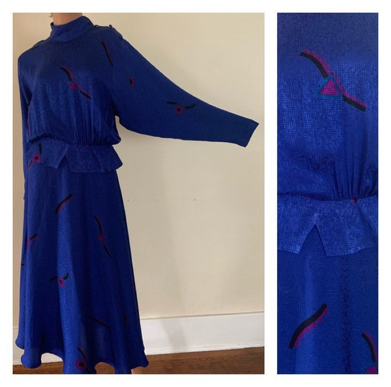 Royal Blue 1980s Dress 80's Day Dress Silk Dress 8