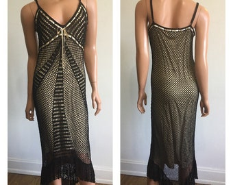 Black Beaded Flapper Dress Bohemian Dress Fishnet Crochet Dress Flapper Dress Gatsby Dress Glam Mesh Dress Goth Dress Size Medium