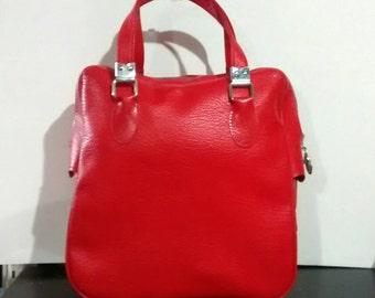 Vintage red Sears carry-on bag, overnite, shoulder bag, luggage, tote