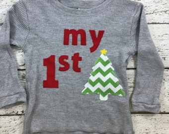 Ready to ship, Children's Christmas shirt, my 1st Christmas shirt, first Christmas, babies first Christmas, thermal shirt, personalized