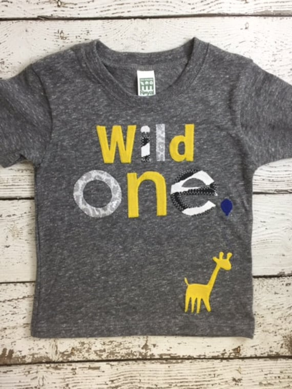 Giraffe Shirt Wild One First Birthday 1 Organic Boys Girl Tee Custom Animal Party Zoo