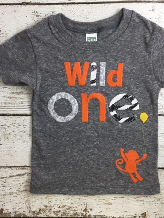 Wild One First Birthday Shirt 1 Animal Print Monkey Organic Blend Boys Girl Tee Things Party Zoo