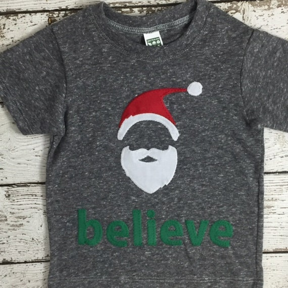 e9c5d60f59def Children's Christmas shirt Children's holiday Santa believe tee hipster kid  tee personalized children's shirt toddler tee baby tee youth