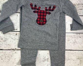 Buffalo Plaid Moose Pajamas for whole family,  Family Christmas Pajamas, Custom Christmas Pajamas, Holiday Pajamas, Christmas pj for family