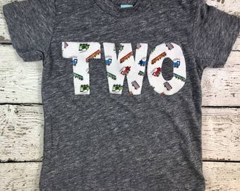 Train Birthday Shirt Organic Blend Tee Boys Birthday Train T-shirt choo choo second birthday etc