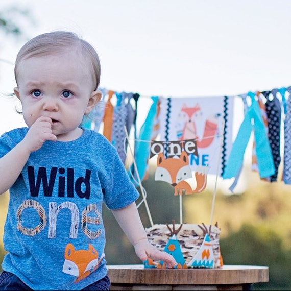 Wild One Birthday Shirt First 1 Organic Boys Girl Tee Custom Woodland Animal Forest Party