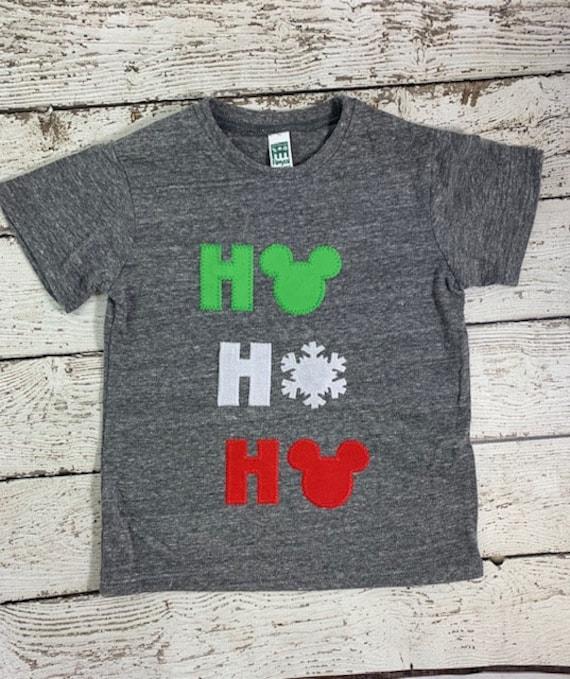 7b5cad9d Children's Christmas shirt Children's personalized holiday tshirt ho ho ho  shirt, snowflake shirt, mouse ears