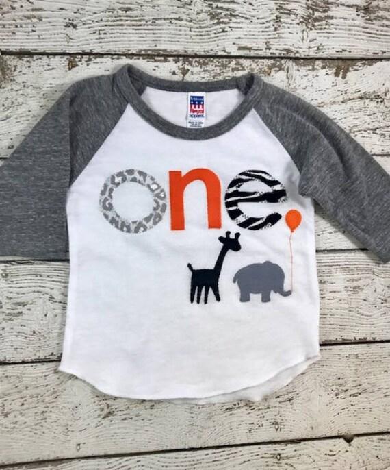 Zoo Animal Party Shirt Baseball Birthday Customize Colors Boys Girls First Elephant Giraffe