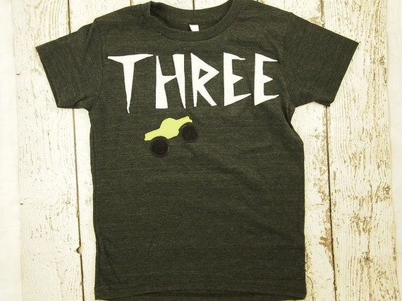 Ready To Ship Third Birthday Shirt Monster Truck Size 8 Boys Party