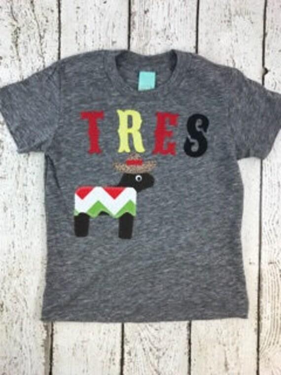 Tres Shirt Fiesta Party Third Birthday Baseball Pinata Donkey Childrens Tee