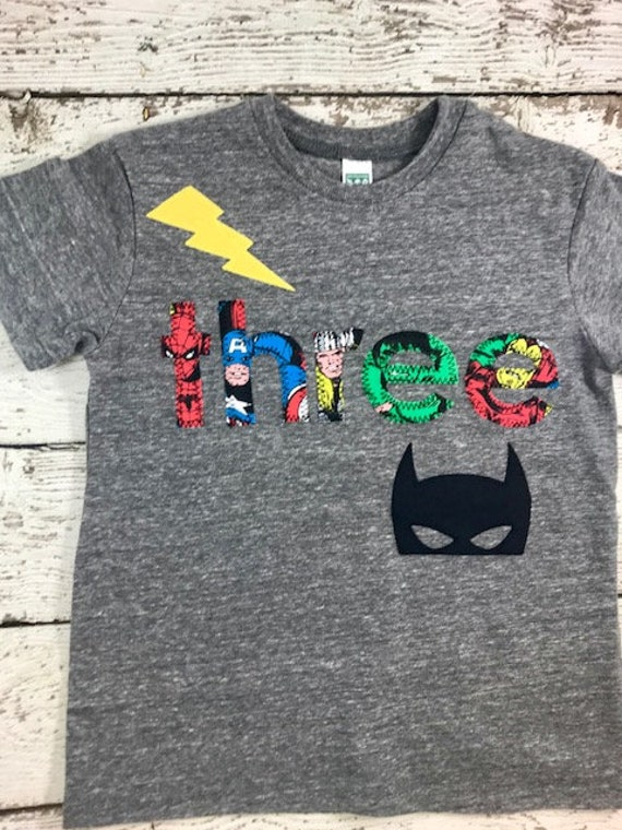 Superhero Party Shirt Mask Kids Tshirt Birthday Boys Tee Invite