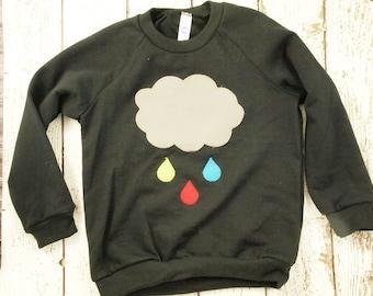 Cloud shirt Children's sweatshirt girl's and boy's shirt raindrop colorful