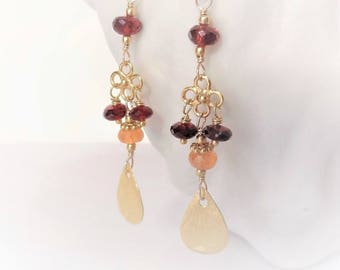 30% off WARMTH Multi Garnet & Bali Gold Vermeil Earrings, Mozambique Red Garnet, Spessartite Mandarin Orange Garnet, gifts for her