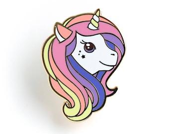 Rainbow Unicorn Enamel Pin - Hard Enamel Pin Cloisonné Unicorn Lapel Pin Rainbow Unicorn Pin Badge Unicorn Kawaii Pin Magical Unicorn Brooch