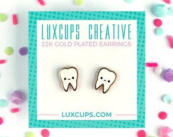 Tooth Earrings - Hard Enamel Teeth Earring Stud Dentist Earrings Dental Earrings Gold Earring Studs Dentist Gift Jewelry Dental Hygienist