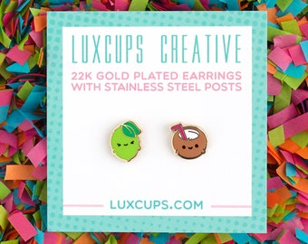 Lime In The Coconut Earrings - Hard Enamel Lime Earring Stud Pina Colada Earrings Fruit Gold Earring Studs Summer Earrings Beach Gift