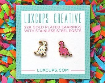 Dino Cookie Earrings - Hard Enamel Dinosaur Earring Stud Dino Earrings Sugar Cookie Earrings Gold Earring Studs Baker Gift Dinosaur Jewelry