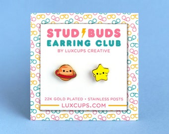 Space Pals Earrings - Hard Enamel Star Earring Stud Planet Earrings Saturn Gold Earring Studs Celestial Gift Cosmos Earring Outer Space Gift