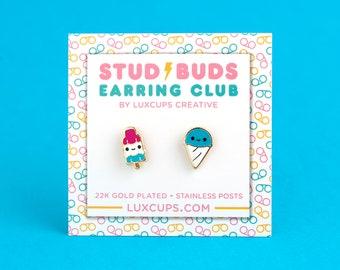 Frozen Friends Earrings - Hard Enamel Summer Treat Earring Stud Bomb Pop Earrings Snow Cone Gold Earring Studs Frozen Gift Popsicle Gift