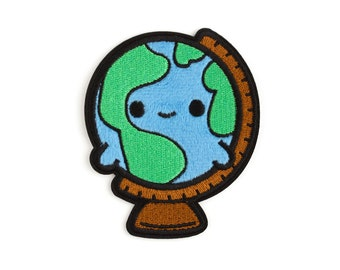 Fuzzy Globe Patch Sticker - Adhesive Patch Globe Applique Earth Patch Badge Embroidered Planet Kawaii DIY Geographic Gift Travel Fuzzy Patch