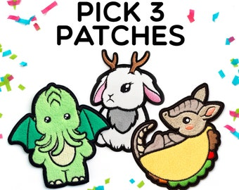 Pick 3 Patches - Adhesive Fuzzy Patches Kawaii Patch Embroidered Texas Patch Jackalope Patch Armadillo Patch Rose Patch Cute Sticker Patch