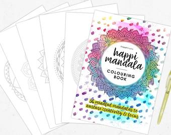 Mandala Colouring Book | Printable | Download | Digital | Positive words | Mindfulness | Mindful | Self Care | Spiritual | Creative