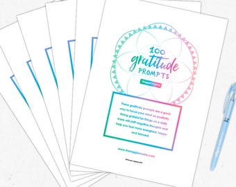 100 Printable Gratitude Prompts for happiness, motivation and positivity