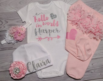 hello world, Baby Girl, coming home outfit, clothes, take home outfit, going home outfit, newborn, hello world, name, sparkling new, gift