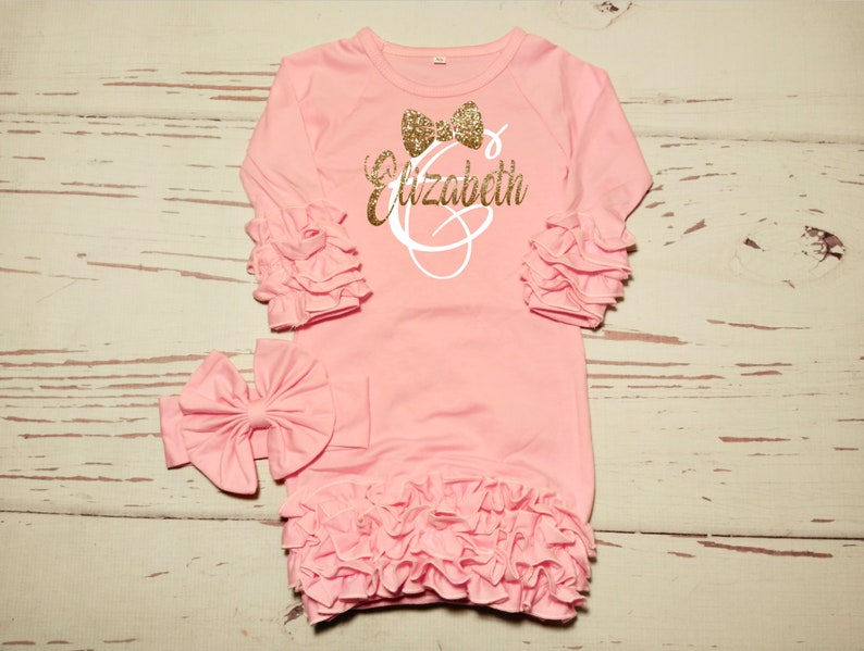 baby gown Monogram baby girl gown Personalized Newborn Baby girl coming home outfit newborn baby girl take home outfit Baby girl clothes