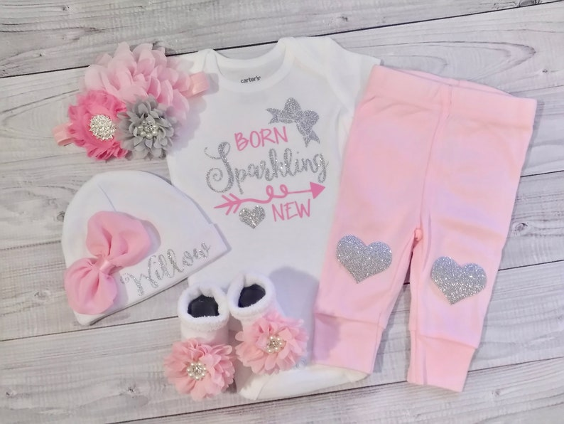 931557c3bed9 Baby girl coming home outfit Personalized baby gown baby
