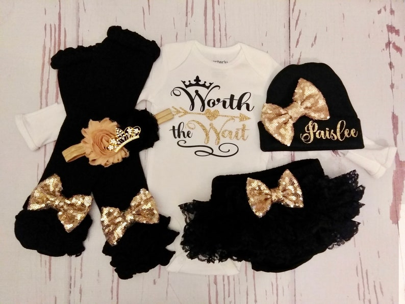 dcab54c7616d Baby girl coming home outfit worth the wait newborn baby