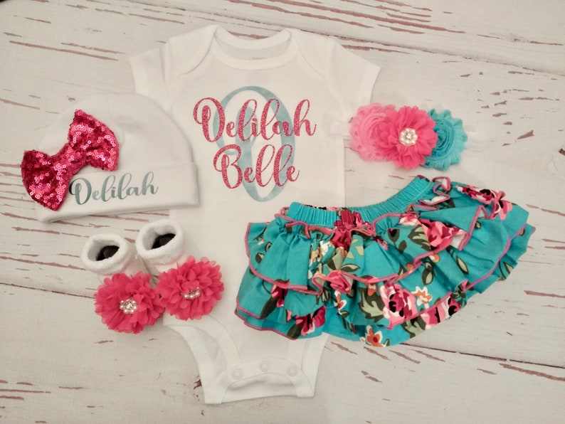 f1e84272e Baby girl coming home outfit newborn baby girl clothes | Etsy
